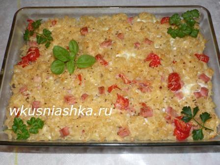 рецепт запеканки из колбасы и сыра