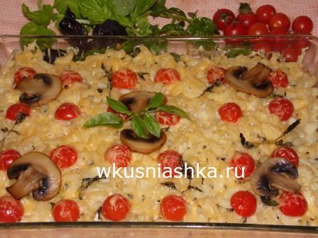 запеканка из макарон с грибами и сыром