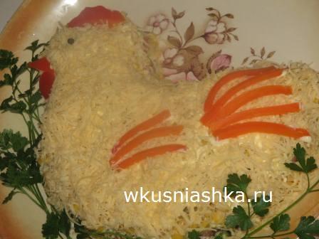 салат на новый год петушок