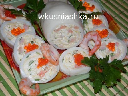 кальмары фаршированные креветками и сыром