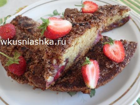рецепт пирога с клубникой на кефире