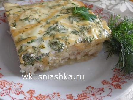 запеканка с рыбным фаршем и картофелем
